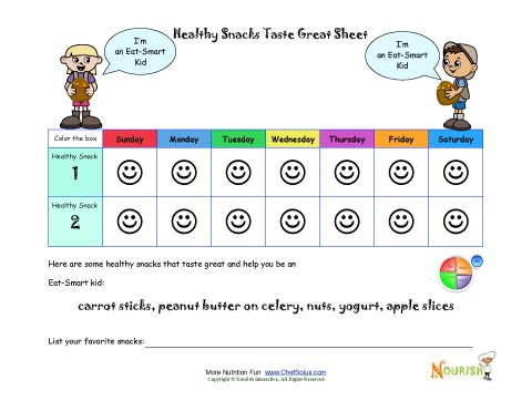 healthy snacks taste great healthy eating goal printable tracking