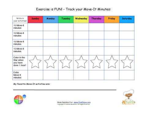 Printable - Write In Daily Activity Tracking sheet - Move It Minutes