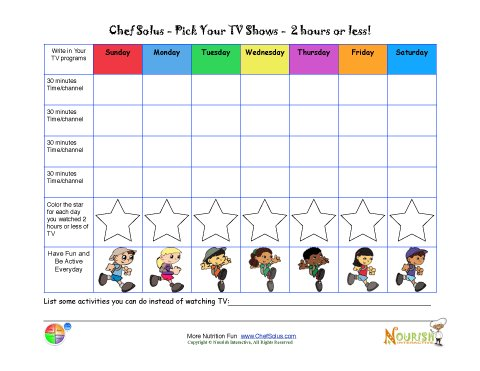 Limiting Tv Time Chart For Kids  Printable Tracking Sheet