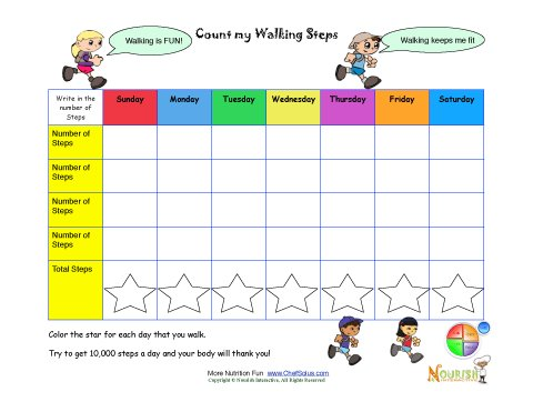 Count Your Steps Walking Chart Printable Tracking Sheet