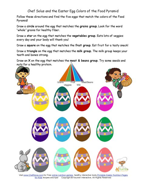 holiday 5 fun easter egg food pyramid worksheet