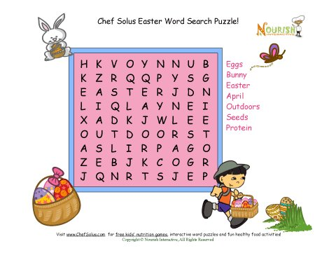 Holiday 5 Easter Word Search Protein Food Group