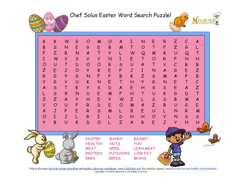 graphic regarding Free Printable Easter Word Search called Getaway 5 Easter Term Appear Satisfy The Protein Foods Community
