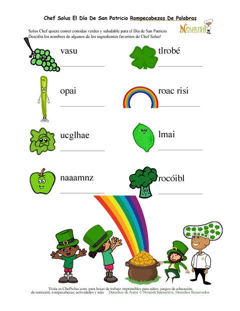 Día Festivo 4 Hoja de Trabajo - Poner en Orden Los Vegetales Verdes ...