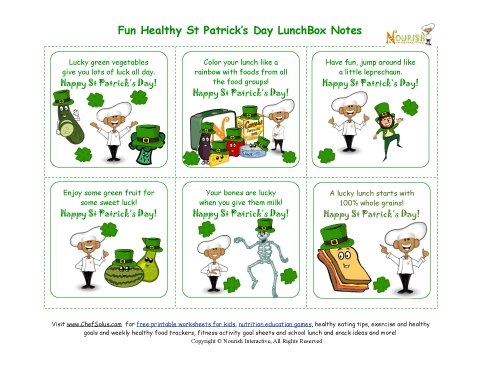photo about St Patrick's Day Cards Free Printable identified as Trip 4 Balanced St Patricks Working day Concept Lunch Box Notes