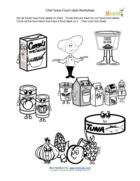 printable fun food label activity coloring sheet - Printable Fun Sheets