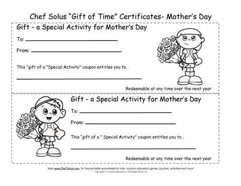 Printable Mother s Day Gift Certificates