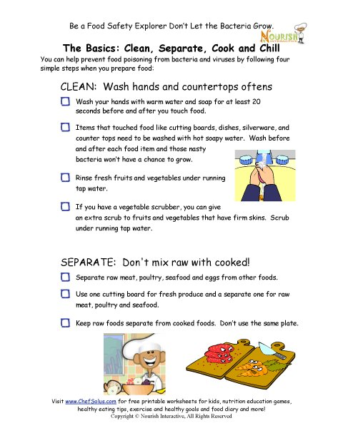Worksheets Kitchen Safety Worksheets chef solus food safety rules checklist for children in the kitchen
