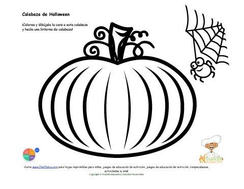Página de Colorear para niños: Linternas de Calabaza