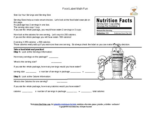 Printable - Food Labels Serving Size Math Computation Worksheet