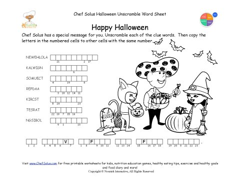 Holidays 10 Halloween Unscramble Words Healthy Message