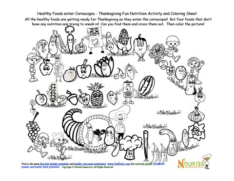 Cornucopia Healthy Foods Activity Fun and Coloring Sheet
