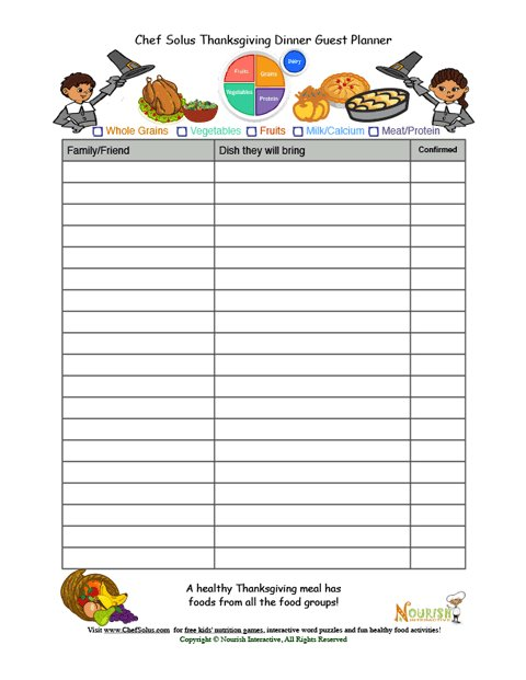 guest and meal planning food groups sheet