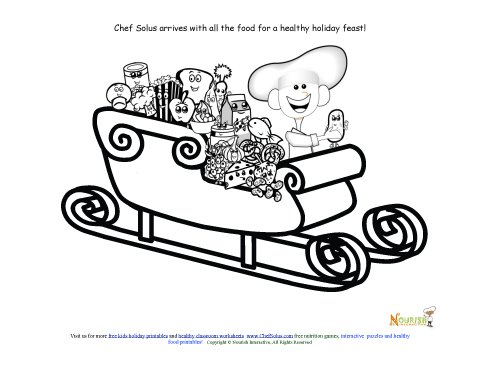 Holiday Fruits and Vegetable Sleigh Coloring Sheet