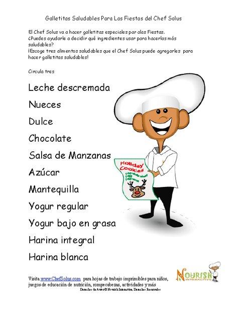 Hoja de Trabajo de Alimentos Saludables Para Galletas de Navidad del ...