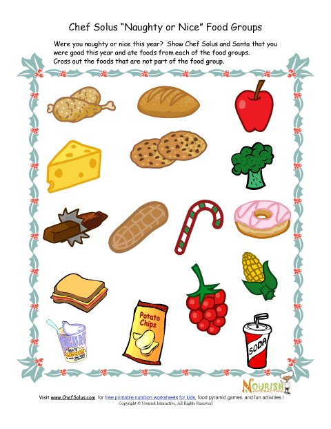 Kids' Food Groups Christmas Worksheet