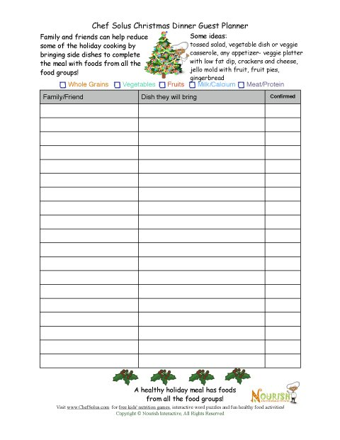 Healthy Holiday Guest Planning Sheet – Holiday Sign Up Sheet Templates