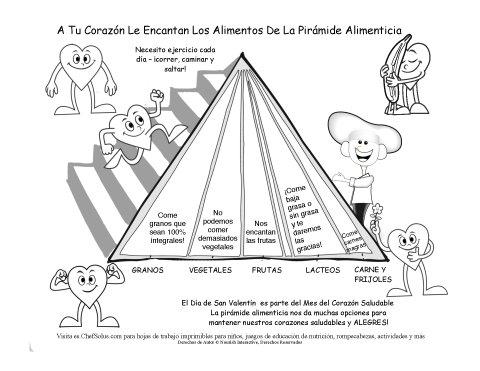 San Valentín y Los Grupos Alimenticios - Página de Colorear