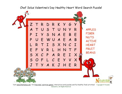 Holiday 2 Printable Valentine Seven Word Search Puzzle