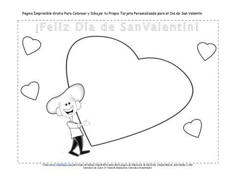 Día Festivo 2 Tarjeta Para Dibujar y Colorear Carta de Corazón para ...