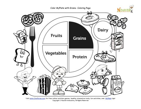 Printable My Plate Grains Coloring Sheet