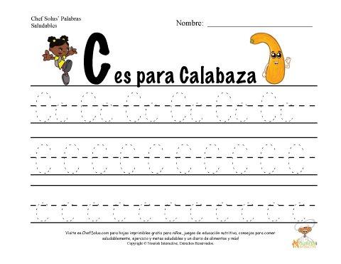 Alfabetos con el Tema de Nutrición y Ejercicio - Letra C