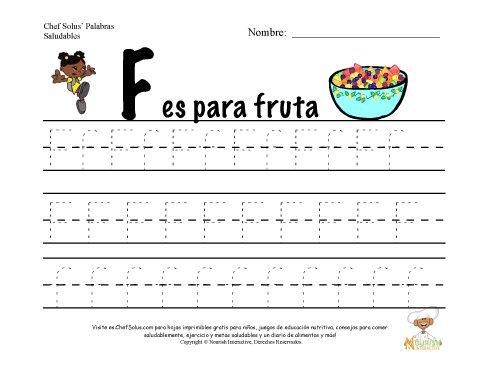 Alfabetos con el Tema de Nutrición y Ejercicio - Letra F