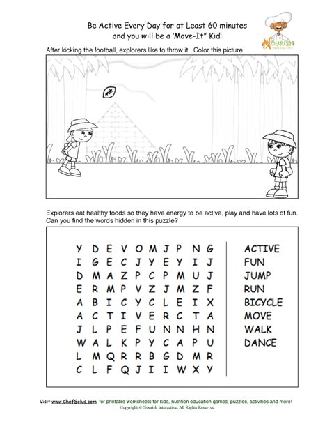 Be Active Every Day Puzzle And Coloring Sheet