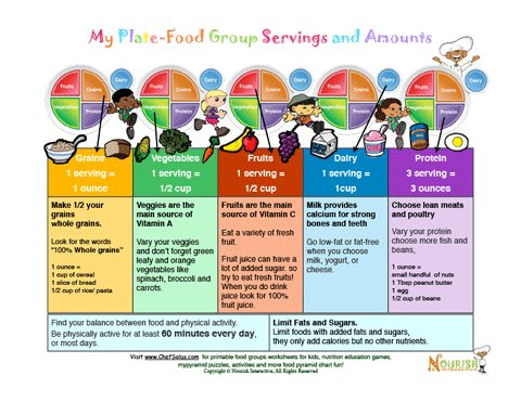My Plate-Food Group Servings and Amounts