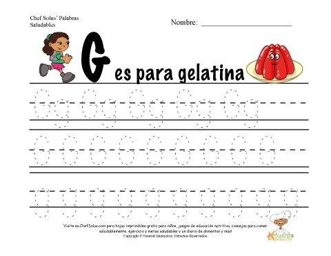 Alfabetos con el Tema de Nutrición y Ejercicio - Letra G