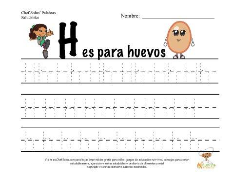 Alfabetos con el Tema de Nutrición y Ejercicio - Letra H