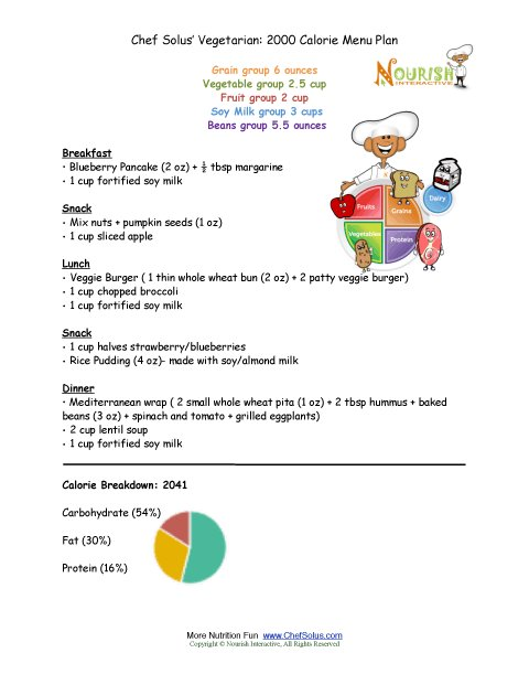 Chef Solus Vegetarian 2000 Calorie Menu Plan For Kids 9 Years And Older