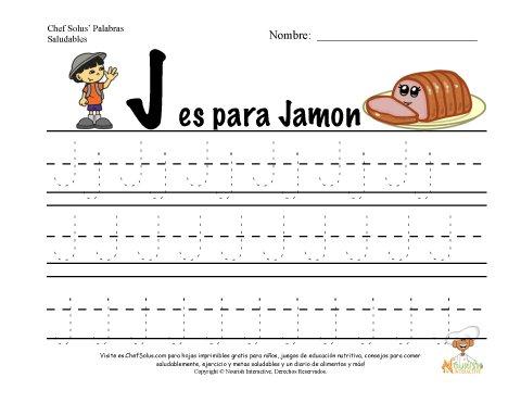 Alfabetos con el Tema de Nutrición y Ejercicio - Letra J