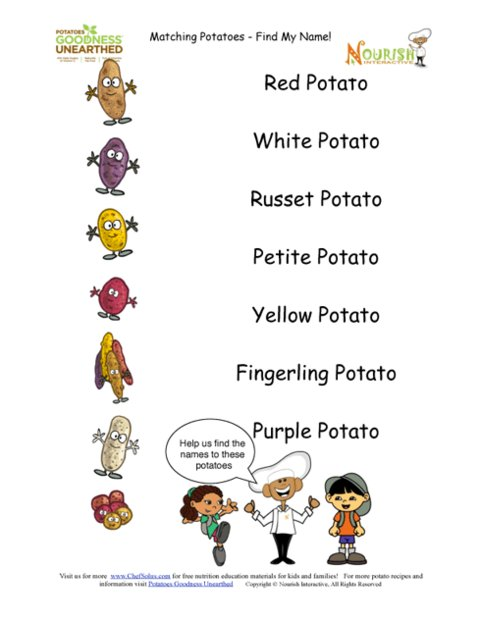 Name That Potato Activity Page For Kids