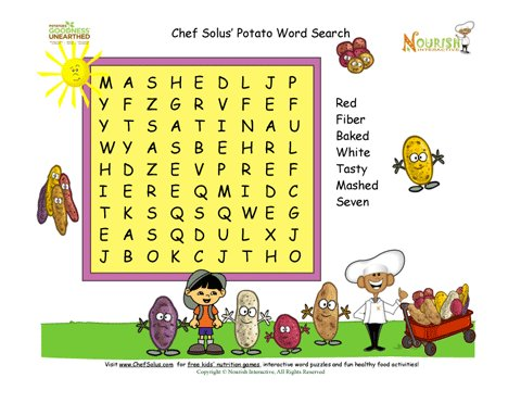 Chef Solus Potato Word Search Fun 7 Words