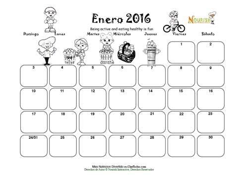 Enero - Mantente Activo y Come Saludablemente Calendario Para Niños ...