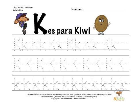 Alfabetos con el Tema de Nutrición y Ejercicio - Letra K