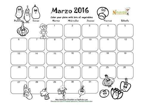 Marzo - Colorea Tu Plato Con Verduas - Calendario para Colorear y ...