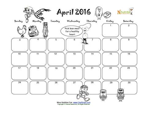 april lean meat and beans group write and color calendar for kids