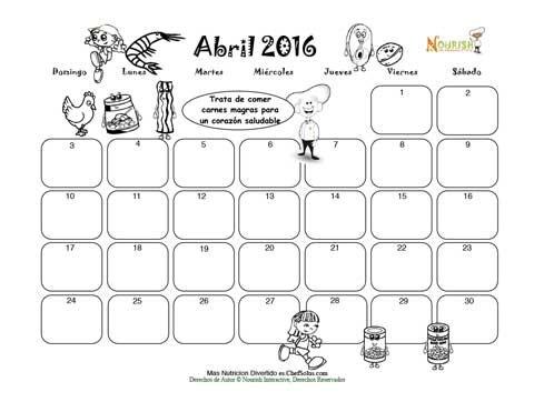 Abril El Grupo De Carne Y Frijoles - Calendario para Colorear y ...