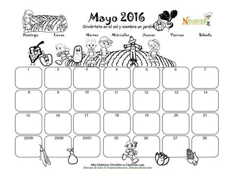 Mayo Planta un Jardin Saludable - Calendario para Colorear y ...