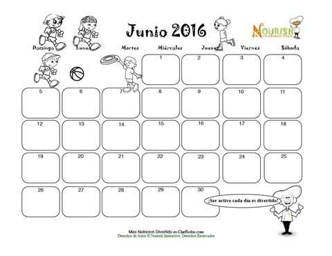 Junio Ser Activo Cada Día - Calendario para Colorear y Escribir Para ...