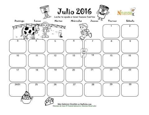 Julio Huesos Fuertes Y El Grupo De Leche - Calendario para Colorear ...