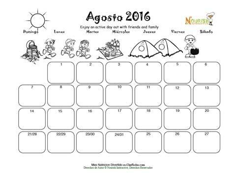 Agosto Día Activo Afuera - Calendario para Colorear y Escribir Para ...