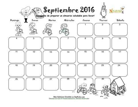 Septiembre Almuerzo Saludable - Calendario para Colorear y Escribir ...