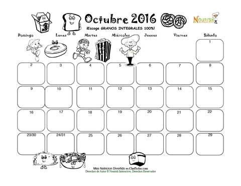 Octubre Fibre Y Granos Integrales Calendario Para Colorear