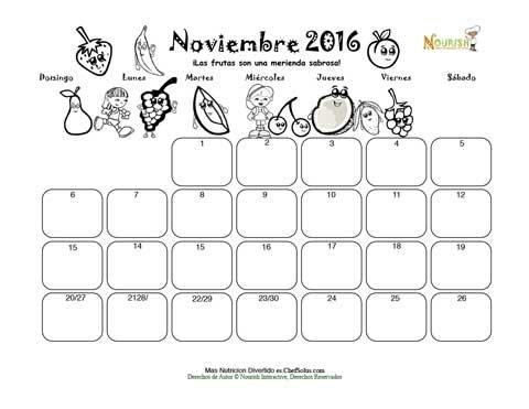 Noviembre El Grupo De Las Frutas - Calendario para Colorear y ...