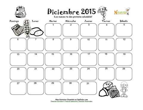 Diciembre Protéina Saludable Y Nueces - Calendario para Colorear y ...