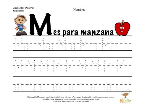 Alfabetos con el Tema de Nutrición y Ejercicio - Letra M
