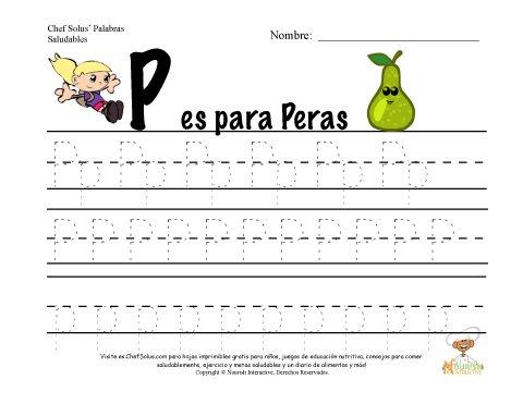 Alfabetos con el Tema de Nutrición y Ejercicio - Letra P